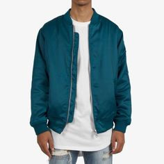 Anyone got experience with MNML bombers? How's the quality? I love this colour. Satin Bomber Jacket, Dark Teal, Affordable Fashion, Dapper, Couture, Jackets, Clothes, Collection, Down Jackets