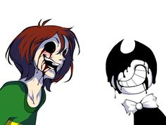Chara from Undertale and Bendy from Bendy and the Ink Machine Fnaf Characters, Video Game Characters, Cartoon Video Games, Undertale Fanart, Undertale Au, Just Ink, Cartoon Crossovers, Great Memes, Fandom Crossover