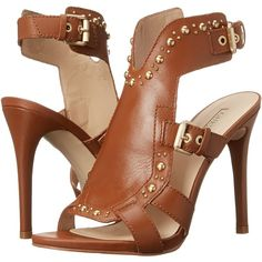 GUESS Cooper (Tan Leather) High Heels ($65) ❤ liked on Polyvore featuring shoes, sandals, tan, open toe sandals, leather sandals, high heel sandals, high heel platform shoes and leather shoes