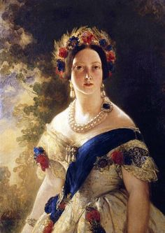 Queen Victoria,1845. Photographs taken of the Queen at this time do not much resemble this glamorous image. Winterhalter was skilled at creating an enhanced likeness. He also obligingly enlarged the Queen's jewellery.