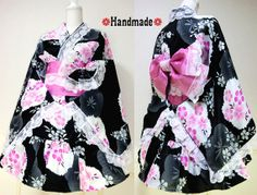 Japanese Kimono Dress Flower Lace black Pink Dress Cosplay Gothic and Lolita Ribbon Maid Dress Kimono Robe Skirt Party dress Kawaii 07 Black And Pink Dress, Lace Dress Black, Kimono Outfit, Kimono Fashion, Japanese Kimono Dress, Kimono Dressing Gown, Cute Kimonos, Black Kimono, Pink Gowns