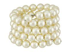 Kenneth Jay Lane - 4 Row Cultura Pearl 10mm Coil Bracelet (Pearl) Bracelet