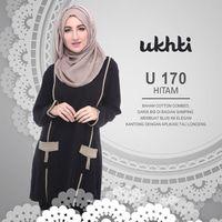 Baju Muslimah Atasan Bahan Kaos Murah Original UKHTI - U 170 Hitam