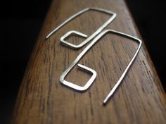 eco friendly hoops. rectangle hoops in sterling silver. silver earrings. recycled silver. $30