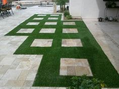 Another great example of mixing artificial turf and pavers for a beautiful and easy to maintain yard. ArtificialTurfExpress.com