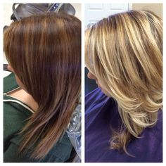 Balayage highlights from brown to blonde hair