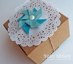 Stampin' Up! Kraft Boxes, paper doilies and new Pinwheel die.