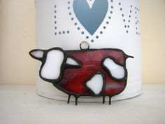 stained glass cow made for hanging by HaloneyRakia on Etsy