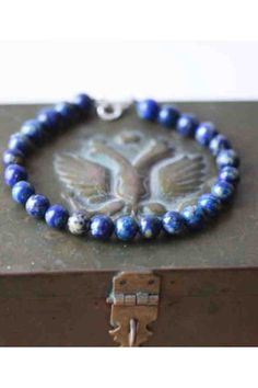 David Yurman inspired bracelet in blue lapis stone