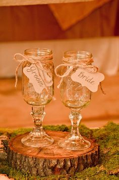 Rustic wedding toasting glasses