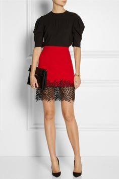 Miu Miu | Crepe de chine top | Christopher Kane | Lace-trimmed wool-crepe mini skirt | Christian Louboutin | So Kate 120 suede pumps | Marni | Leather clutch