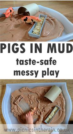 Pigs in mud messy play pigs in mud taste-safe messy play Nursery Activities, Farm Activities, Infant Activities, Indoor Activities, Summer Activities, 3 Little Pigs Activities, Autumn Activities, Tuff Tray Ideas Toddlers, Games For Toddlers