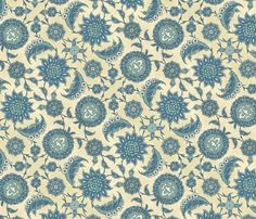 Antique Arabic floral, in blues fabric by unseen_gallery_fabrics on Spoonflower - custom fabric