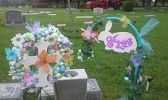 My son and daughters grave site decorated for Easter Grave Flowers, Cemetery Flowers, Diy Flowers, Flower Decorations, Paper Flowers, Cemetery Decorations, Memorial Flowers, Easter Season, Grave Memorials