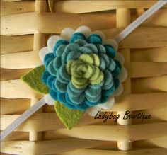 Wool Felt Flower Clip or Skinny Elastic Headband - Peacock by LadybugBowtique on Etsy
