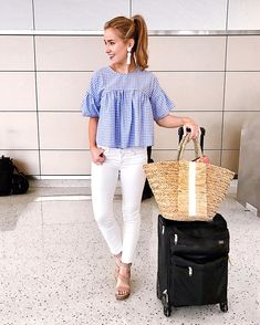 TOP  gingham blouse     JEANS  white toothpick jeans     SHOES  ankle strap wedges     BAG  straw tote     EARRINGS  white tassel earrings Goooood morning, friends! I'm just a bit giddy typing this out because… today I'm headed…