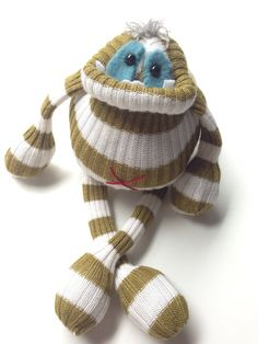 Smug Monster itty bitty-one of a kind eco friendly plush toy on Etsy, $25.00
