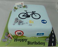 Cycling themed birthday cake