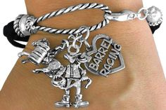 I Love Barrel Racing - Silver and Faux Leather Rope Bracelet w Silver Charm