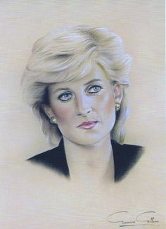 """Portrait of Princess Diana Diana Frances Spencer """"Di"""" (1961-1997) Princess of Wales, UK. 1st wife to heir to UK Throne Prince Charles (Charles Philip Arthur George) (1948-living2013) Prince of Wales, UK. Diana is the 4th Child of Edward John """"Johnnie"""" Spencer (1924-1992) 8th Earl Spencer UK & Frances Ruth Roche (Frances Ruth Spencer-Shand Kydd) (1936-2004) UK."""