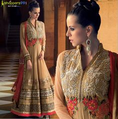 Buy Online stylish and Fabulous Beige Golden Long #AnarkaliSuit at much discount price.  Shop Now:- http://www.shoppers99.com/sharara_anarkali_suits_by_tulika/beige_golden_long_anarkali_suit_t-542-1305_2