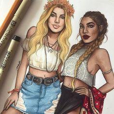 Coachella girls close up  #fashionsketch #fashiondrawing #fashionillustration #drawing #illustration #art #artist #fashionable #nataliamadej #sketch #coachella #festival