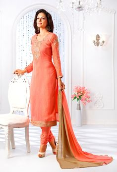 Semi Stitched Peach Faux Georgette Straight Cut Suit #churidar #georgette #net #officewear #long #achkanstyle #salwarkameez #suit #suitsonline #traditional #straightcut #fullsleeve #contemporary #womenwear #womenclothing #nikvik #usa #designer #australia #canada #malaysia #UAE #freeshipping price-US$67.56.Sign up and get USD100 worth vouchers.Offer is valid for limited period.