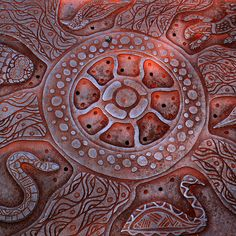 Aboriginal art on a man hole by Ole Reidar Johansen, via Flickr