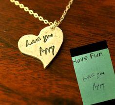 Handwriting Charm  Real Handwriting on a Heart by CarmellasJewelry