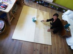 """Just Yvette"" In her studio, prepping a panel"