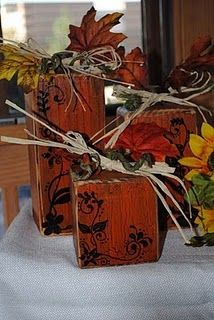 4x4 wood handpainted decor. Use stencil, paint, adorn with autumnal elements. FAB!