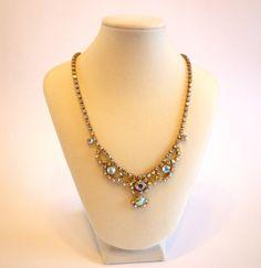Vintage Crystal Aurora Borealis Rhinestone Necklace.