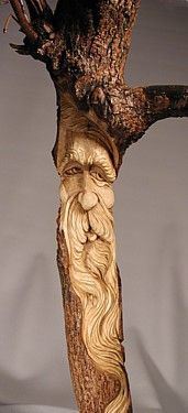 3 Foot Tall White Oak Wood Spirit - by Master Carver Shawn Cipa (SOLD)