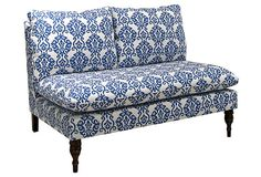 "Bacall Armless Settee, Indigo on cotton, pine turned legs in espresso OneKingsLane.com 45'W X 35""D X 35""H Love the armless style for playing guitar or other instruments"