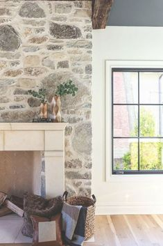 Mashup Monday Inspired Ways to Update Your Fireplace - Slave to DIY Painted Stone Fireplace, Stone Fireplace Makeover, Home Fireplace, Fireplace Remodel, Fireplace Surrounds, Cottage Fireplace, Painted Rock Fireplaces, Fireplace Whitewash, Stone Fireplace Designs