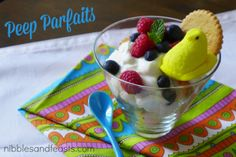 Peep Parfaits #EasterIdeas http://www.nibblesandfeasts.com/2014/04/peep-parfaits/