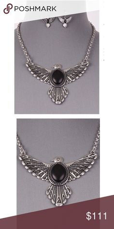 COMING SOON EDGY HAWK WING STATEMENT NECKLACE COMING SOON EDGY HAWK WING STATEMENT NECKLACE                                                                   Nickel and Lead safe 1IN EARRING 3IN EXTENDER - Materials: Metal - Length: 17 inch - Weight: 1.4 oz Dina Aziza Jewelry Necklaces
