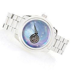 Android 50mm Horizon Automatic Open Heart Mother-of-Pearl Bracelet Watch