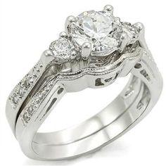 1.75ct Brilliant Bridal 3 Stone Wedding Ring Set Platinum plated Cubic Zirconia