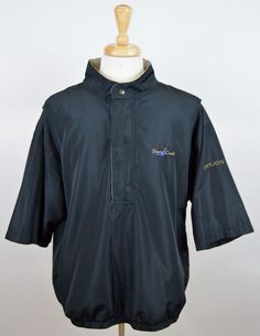 men's FootJoy DryJoys Black 1/2 Zip 3/4 Sleeve Pullover rain golf Jacket XL #DryjoysbyFootjoy