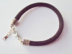 Metallic Black Glitter Cord Bracelet by FineryBox on Etsy
