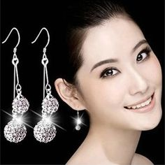 Find More Drop Earrings Information about High quality silver plated jewelry rhinestone ball double ball silver plated dangle earrings for women fine jewelry wholesale,High Quality earring stopper,China earring discs Suppliers, Cheap earring clip from Xingze Jewelry store on Aliexpress.com