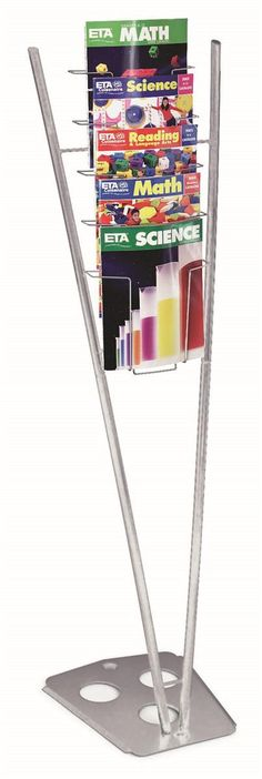 5-Pocket Magazine Stand for Floor, Fits 8.5 x 11 Literature, V-shaped - Silver