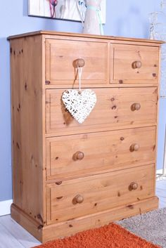 SOLID PINE CHEST OF 5 DRAWERS Pine Chests, Pine Furniture, Solid Pine, Drawers, Top, Home Decor, Decoration Home, Room Decor, Set Of Drawers