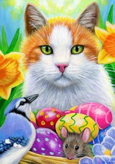 LISTENING FOR REINDEER- Hello, I have available a print from an original ACEO Painting I have done on x 100 lb acid free paper. Easter Paintings, Animal Paintings, Art Paintings, Easter Cats, Happy Easter, Blue Jay Bird, Cat Clipart, Puzzle Art, Cat Mouse