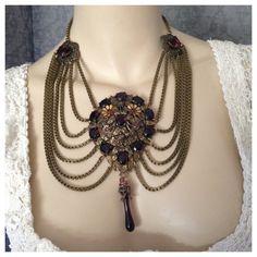 Inspired by Joseff of Hollywood - Dramatic Deco Dress Clip Festoon Necklace, Purple, Amethyst Czech Glass, Bronze