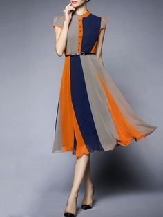 Color-block Empire-Waist Chiffon Midi Dress More
