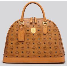 Mcm Satchel ($1,090) ❤ liked on Polyvore featuring bags, handbags, mcm, cognac, retro handbags, retro purse, brown handbags, satchel handbags and coated canvas handbag