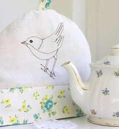 embroidered bird tea cozy (bird, tea cozy, embroidered, sewing, fabric, kitchen)