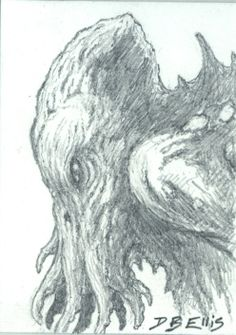 CTHULHU NO 41 original sci fi art ACEO lovecraft by dbellis, $4.00